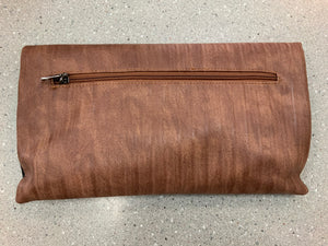 BLACK AND BROWN CLUTCH