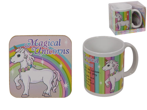 MUG & COASTER SET - RAINBOW UNICORN