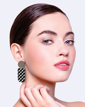 Load image into Gallery viewer, EBONY STRIPED GINGHAM ASYMMETRICAL TAB STUD EARRINGS