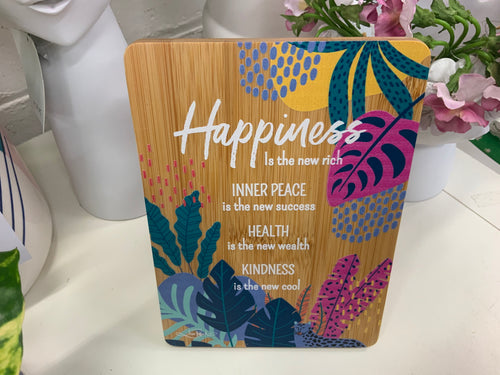 BAMBOO PLAQUE - HAPPINESS