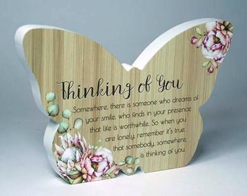 Butterfly Plaque - Thinking Of You