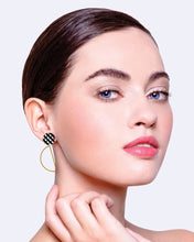 Load image into Gallery viewer, EBONY GINGHAM HANGING MOON STUD EARRINGS