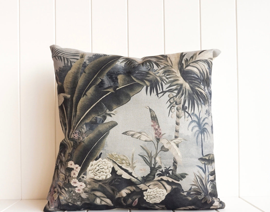 Indoor Cushion - Dust Blue Tropical