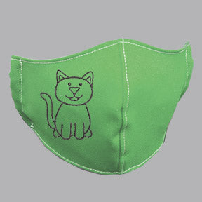 Green Mask with Black Cat Embroidery
