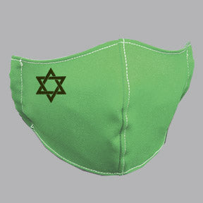Green Mask with Black Star of David Embroidery