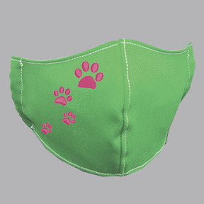 Green Mask with Pink Paw Prints Embroidery
