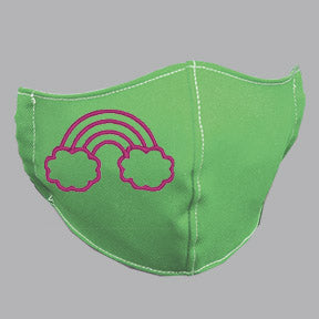 Green Mask with Pink Rainbow Embroidery