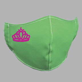 Green Mask with Pink Tiara Embroidery