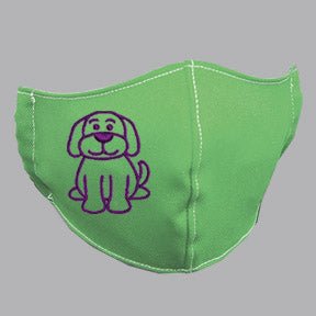 Green Mask with Purple Dog Embroidery