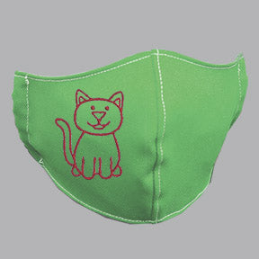 Green Mask with Pink Cat Embroidery