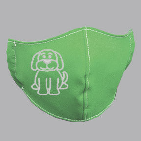 Green Mask with White Dog Embroidery