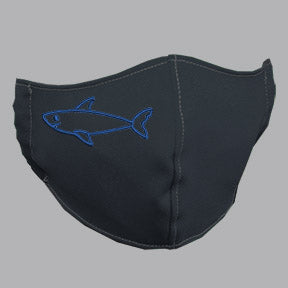 Gray Mask with Blue Shark Embroidery