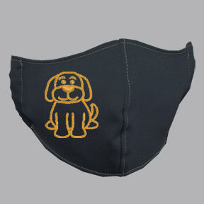 Gray Mask with Gold Dog Embroidery