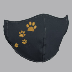 Gray Mask with Gold Paw Prints Embroidery