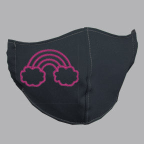 Gray Mask with Pink Rainbow Embroidery