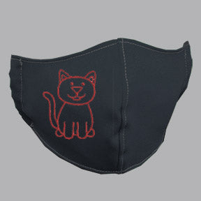 Gray Mask with Red Cat Embroidery