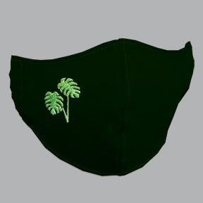 Black Mask with Mostera/Philodendron Embroidery
