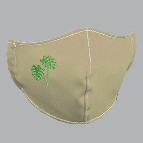 Khaki Mask with Mostera/Philodendron Embroidery