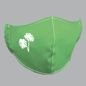 Green Mask with Mostera/Philodendron Embroidery