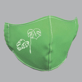 Green Mask with Mostera/Philodendron Line Art Embroidery