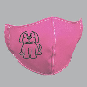 Pink Mask with Black Dog Embroidery