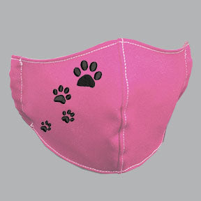 Pink Mask with Black Paw Prints Embroidery