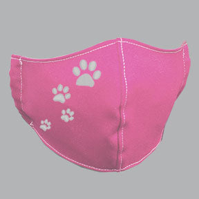 Pink Mask with White Paw Prints Embroidery