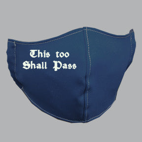 Navy Mask with This Shall Pass Message Embroidery