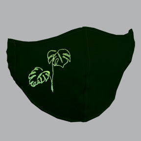 Black Mask with Mostera/Philodendron Line Art Embroidery