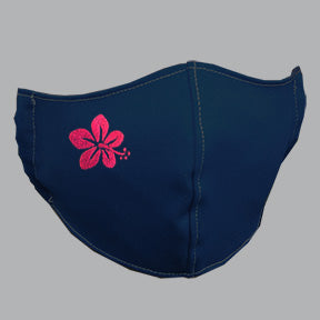Navy Mask with Hibiscus Embroidery
