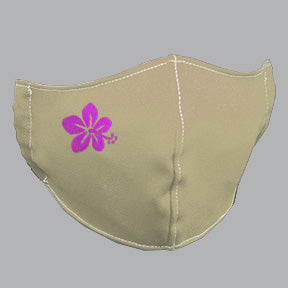 Khaki Mask with Pink Hibiscus Embroidery