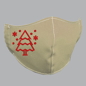 Khaki Mask with Red Tree Embroidery