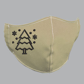 Khaki Mask with Black Tree Embroidery