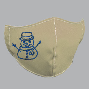 Khaki Mask with Blue Snowman Embroidery