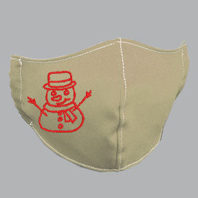 Khaki Mask with Red Snowman Embroidery