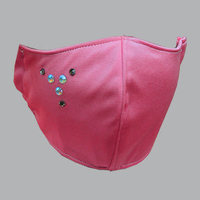 Pink Satin Mask with Rhinestones