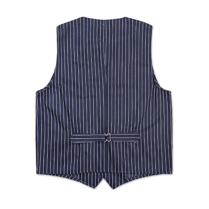 1900s 10oz Yarn Dyed Indigo Striped Railroad Vest