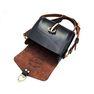 Horween Chromexcel Black Handmade Cavalry Buckle Shoulder Crossbody Bag