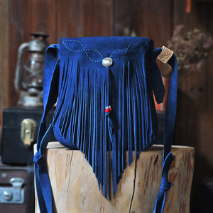 Indigo Blue Suede Indian Bohemian Tassel Medicine Shoulder Bag