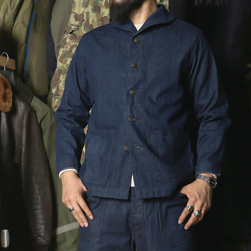 1920s Model US Navy Denim Coverall Utility Jacket