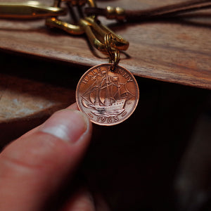 Vintage Pure Copper Coin Hook Keychain