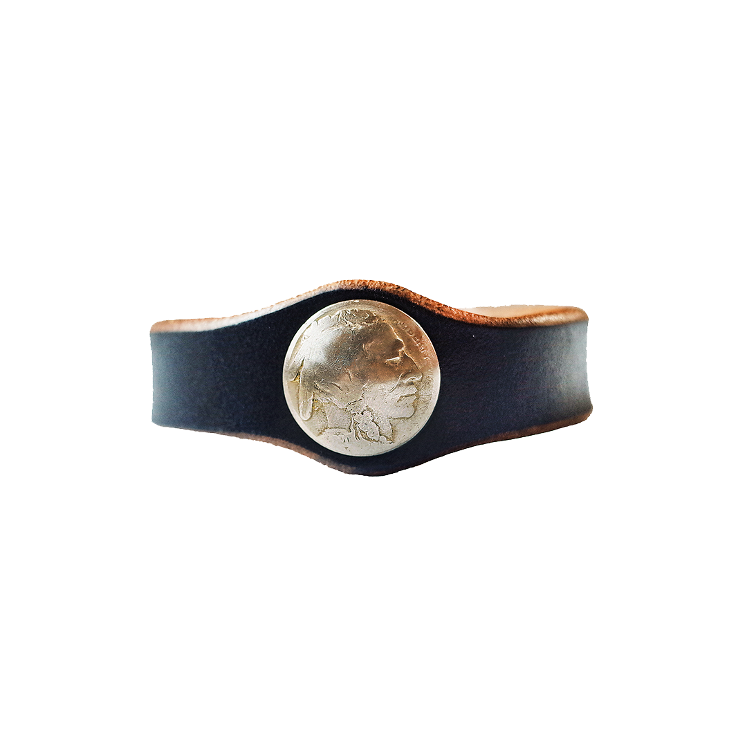 Horween Leather Buffalo Native American Nickel Coin Bracelet
