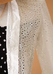"""All Eyes On You"" Eyelet Button Top"