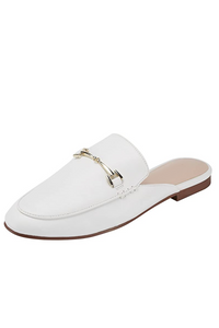 Catherine Backless Mules in White