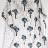 Blue palm tree kantha king single quilt