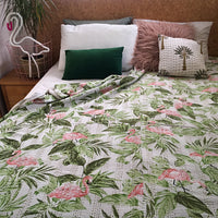 Flamingos on the bed