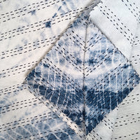 Shibori circle queen reversible kantha quilt