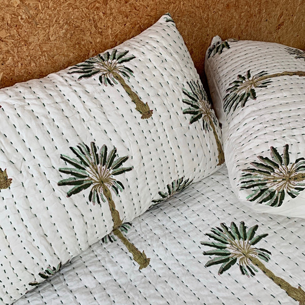 Green jewel - palm kantha pillowcase