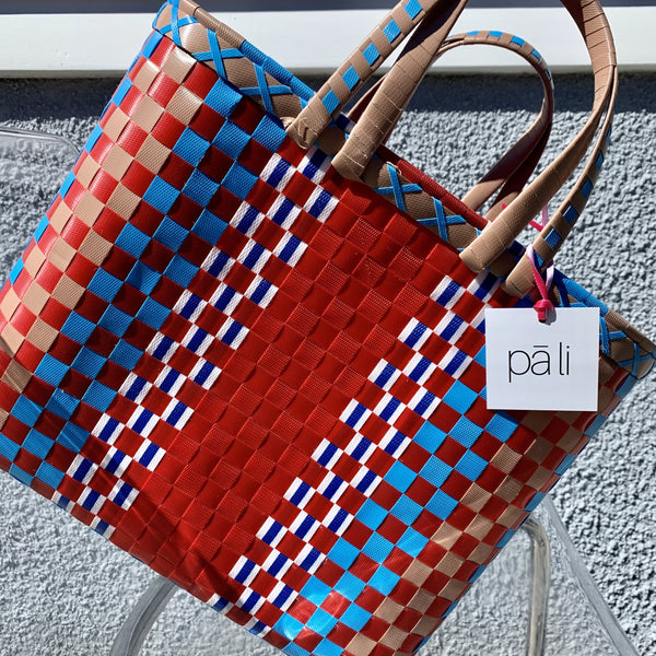 red blue coffee coloured recycled basket