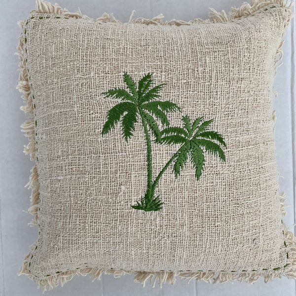 Double palm tree artisan cushion